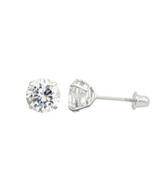 10K White Gold Round Cubic Zirconia (CZ) Double Basket Screw Back Stud Earrings - 2 mm to 10 mm - CT11ORE3QQR