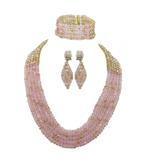 Africanbeads 6mm 5Rows Pink and Gold African Wedding Jewelry Set-Crystal Beads Necklace Set - CU125K1J97Z