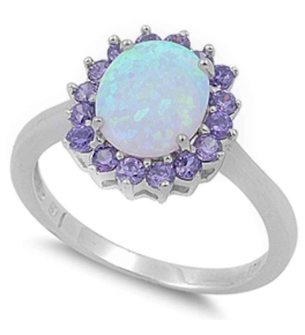 Lab Created White Opal & Simulated Amethyst .925 Sterling Silver Ring Sizes 4-12 - C411KFOV9WB