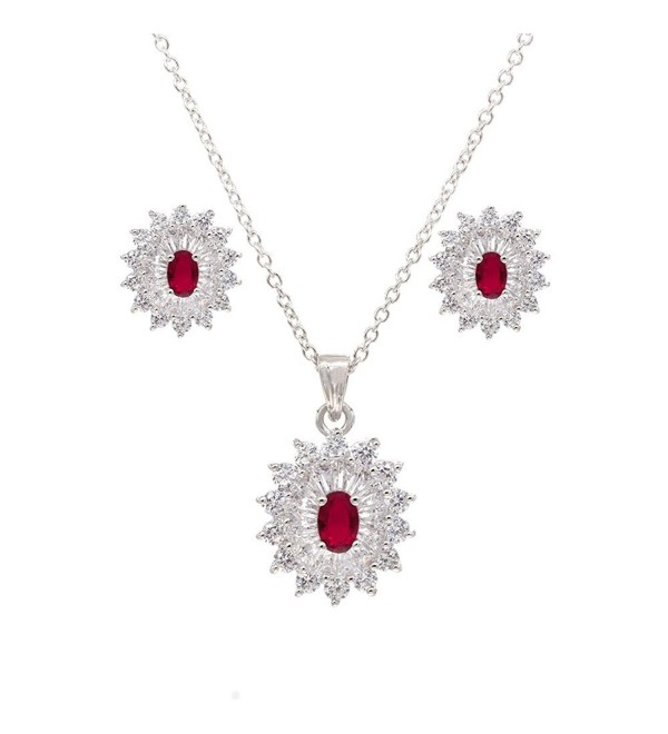 Oval Luxury Necklace & Earrings Jewelry Set Trendy AAA Cubic Zirconia For Women - Red - C51897R54TN