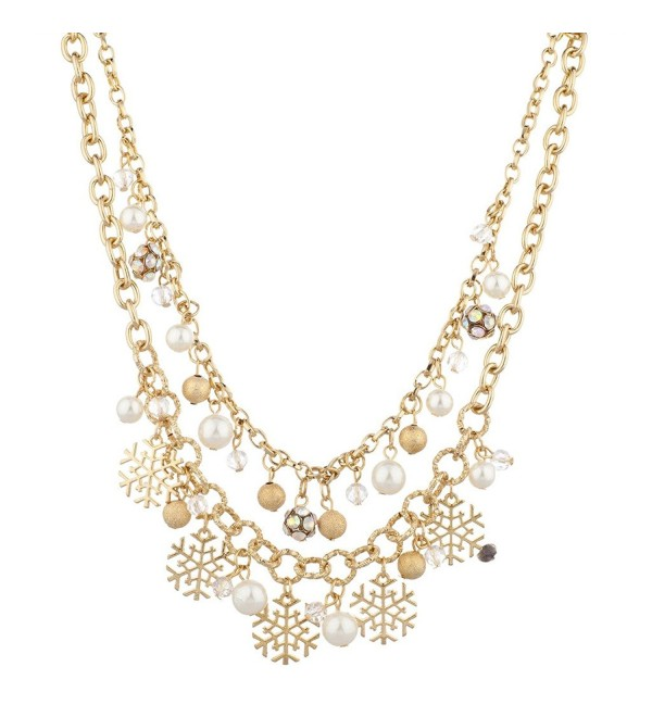 Lux Accessories Goldtone Christmas Holiday Winter WonderLand Snowflake Necklace - CJ12LQ59BOF