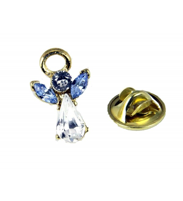6030599 March Crystal Birth Month Angel Pin Guardian Lapel Brooch Tie Tack - CN12C63G0M7