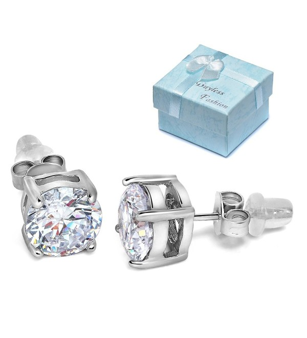 Buyless Fashion Surgical Steel Round Crystal CZ Earrings In Gift Box (Multi Sizes) - CU12BC2BRUX