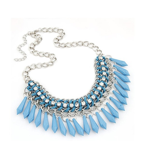 21secret Women Gorgeous Clear Rhinestone Bohemian Water Drop Choker Collar Necklace - Blue - CO12MAL1Z7I