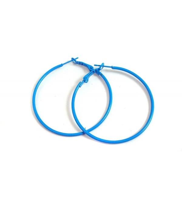 Blue Hoop Earrings Simple Thin Hoop Earrings 2 Inch Hoop Earrings - CB12FZASDCH