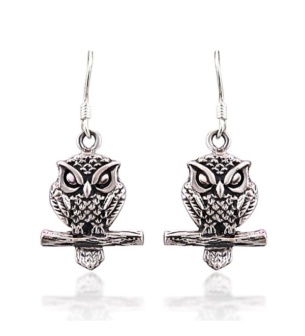 925 Sterling Silver Oxidized Detailed Midnight Owl on Branch Hook Earrings - CW11LWHRAAN