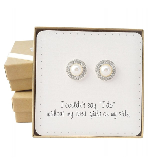 "Bridesmaid Gifts - 0.7"" Romantic Simulated Pearl & Pave Crystal Halo Stud Earrings - CZ128I7OQR1"