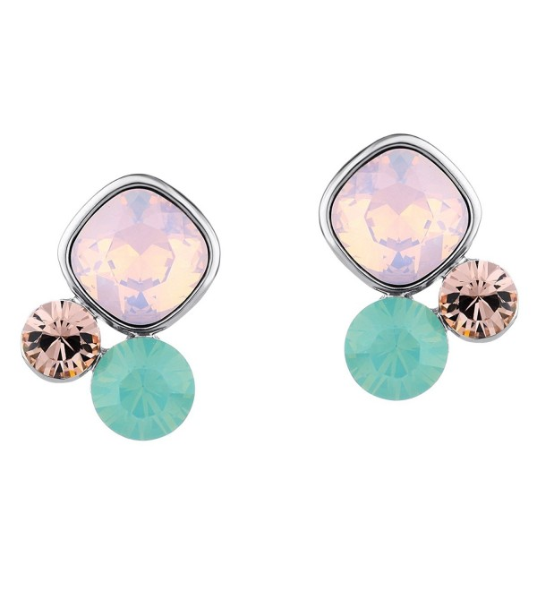 Neoglory Pink Green Made with Swarovski Element Crystal Charm Stud Earrings- Silver Earring Posts - C7110U423FX