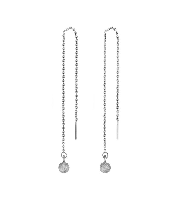 Women's Cute Round Ball Stainless Steel Threader Pull Through Chain Dangle Drop Earrings - C617AZT0M7M