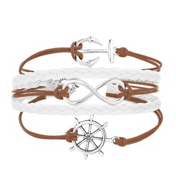 LilyJewelry Infinity Anchor Wheel Braided Leather Wrap Wristband Bracelets - Brown - CC182WUGEQR