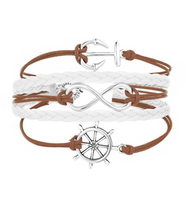 LilyJewelry Infinity Anchor Wheel Braided Leather Wrap Wristband Bracelets - Brown - CC182WUGEQR
