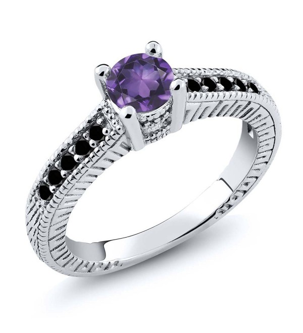 0.62 Ct Round Purple Amethyst Black Diamond 925 Sterling Silver Engagement Ring - C911NI5N503