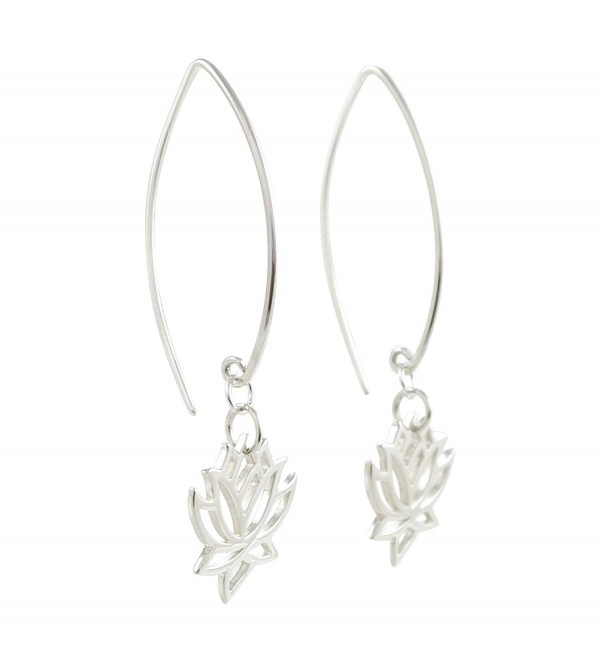 Cut Out Design Lotus Flower Dangle Earrings in Sterling Silver- 8373 - C3113EIQLV9