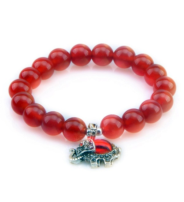 MIKINI Womens Lucky Elephant Bracelet Healing Natural Aquamarine Crystal Agate Beads Bracelet-10MM - Red Agate - CW182KGQIE8