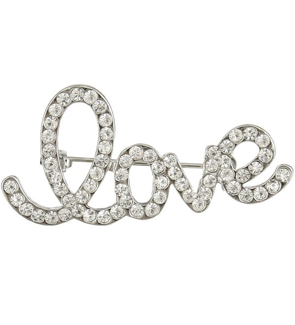 "EVER FAITH Women's Austrian Crystal Romantic ""Love"" Letter Brooch Pin - Clear Silver-Tone - CM11XET9WHN"