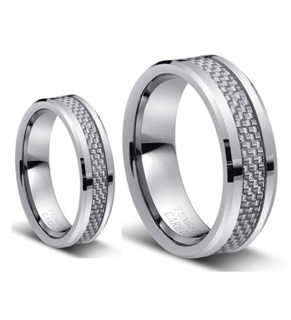 His & Her's 8MM/6MM Tungsten Carbide Wedding Band Ring Set With Silver Carbon Fiber Inlay - CH1246401O7