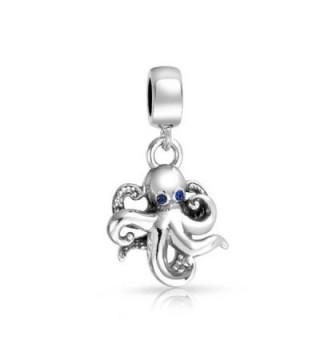 truecharms Blue Crystal Nautical Octopus Dangle Charm Beads Fits European Jewelry Charms Bracelets - CK12JFLC8Q5