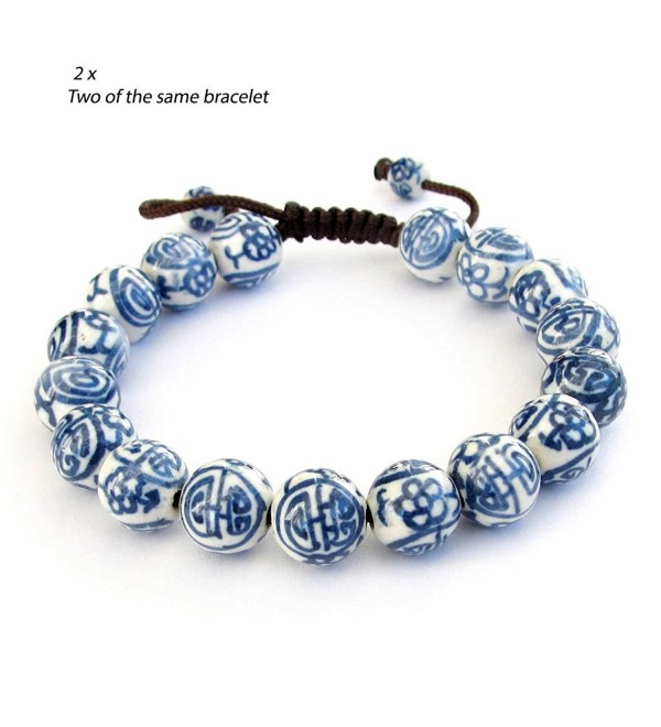 2pcs X Vintage Style Porcelain Beads Buddhist Wrist Mala Bracelet - CF11707HWQ3
