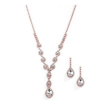 Mariell Sparkling Blush Rose Gold Crystal Rhinestone Necklace Earrings Set for Prom- Bridesmaid & Brides - CU12O7KL2OF