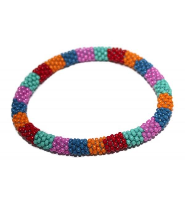 Crochet Glass Seed Bead Bracelet Roll on Bracelet Nepal Bracelet SB501 - C2127Y50IOX
