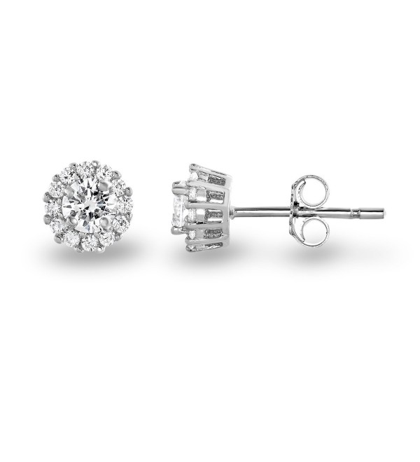 Rhodium Plated Sterling Silver Cubic Zirconia Classic Halo Stud Earrings- (Center Stone: 4.5mm) - C512EQ341H1