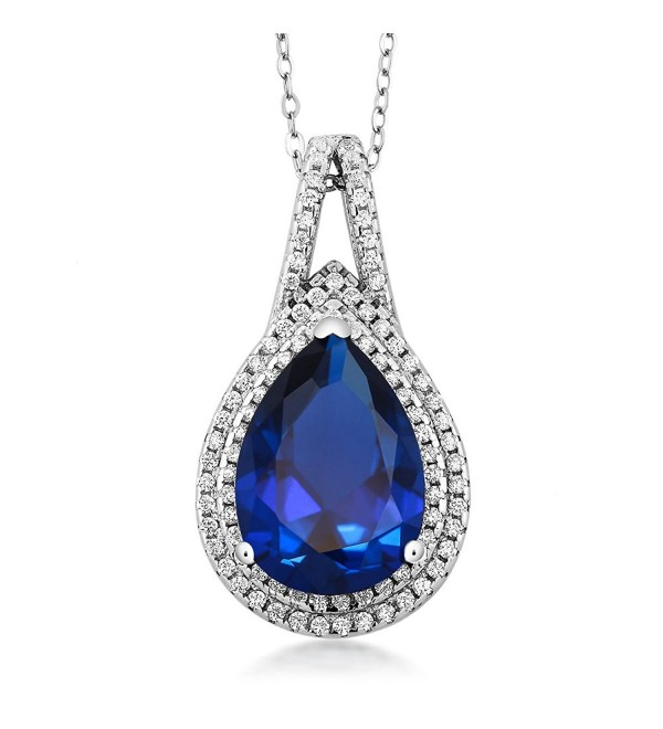 11.00 Cttw Pear Shape 15X10MM Blue Simulated Sapphire 925 Sterling Silver Pendant 18 Inch Chain - C411QGAMWM3