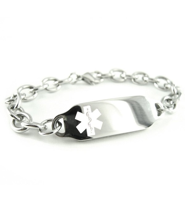 MyIDDr - Women's- Ladies- Steel Medical Jewelry ID Bracelet- O-LINK Chain- White Symbol - C6116JYTI2T
