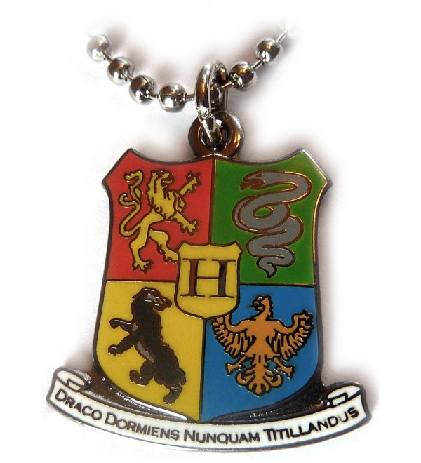 Harry Potter Hogwarts Coat of Arms Crest Pendant Necklace w/Ball Chain - C3116IJOM5D