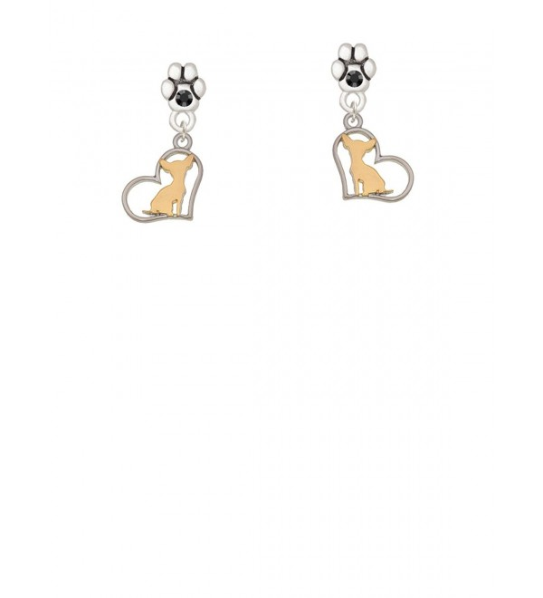 Two Tone Chihuahua Silhouette Heart - Crystal Paw Earrings - CR17YTWQKTQ