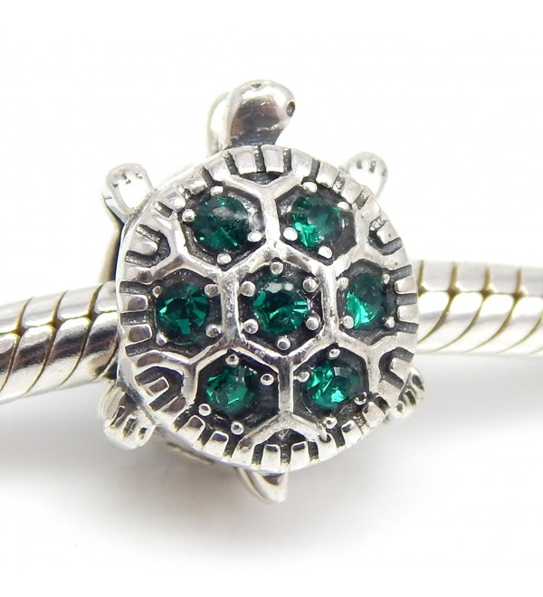 "Pro Jewelry .925 Sterling Silver ""Turtle w/ Green CZ"" Charm Bead for Snake Chain Charm Bracelet 2589-19 - CR11CRMLNTN"