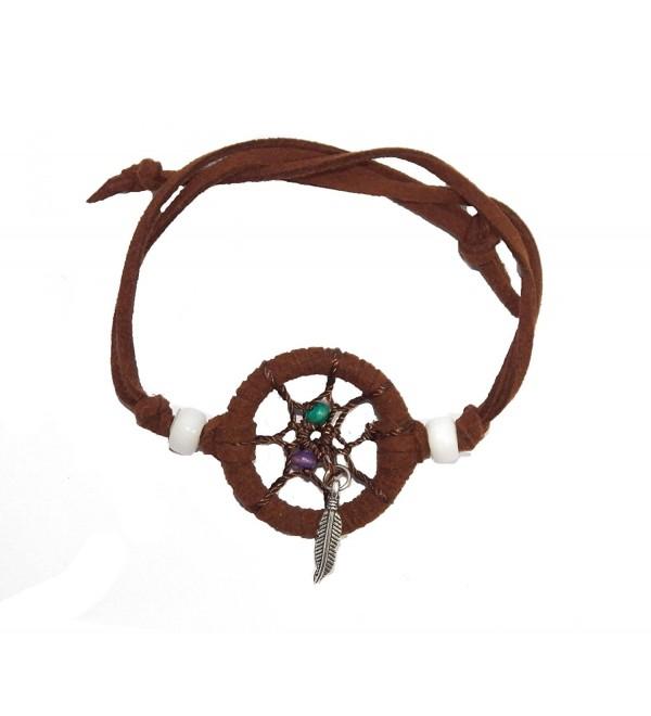 Dream Catcher Bracelet Brown Leather Cord Feather Wooden Bead (DCB10003) - CX11P5XH0EX