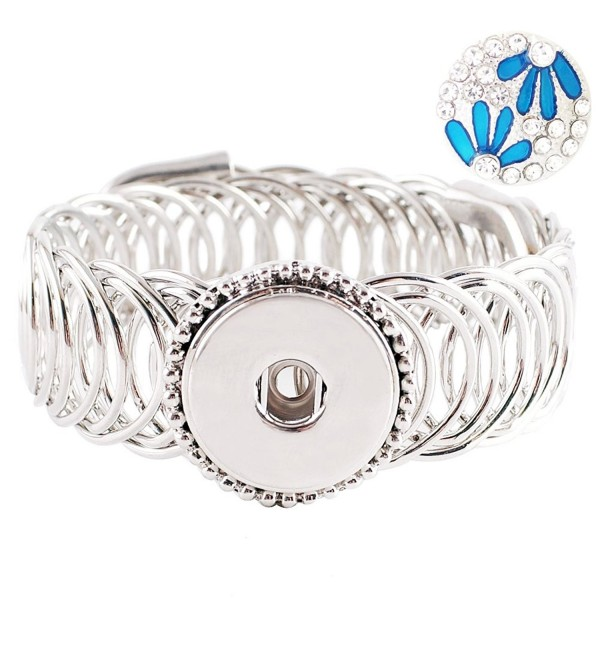 Lovmoment Bracelet Single Button Wide Metal Snap Bracelet Bangle Snap Jewelry Charms KB8120 - CZ12MZB00DW