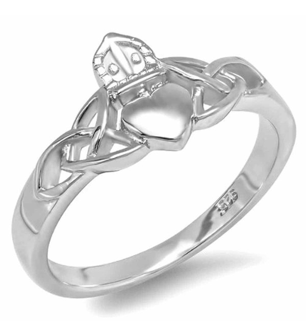 Sterling Silver Ladies Irish Friendship And Love Heart Claddagh Celtic Ring (Available in size 6- 7- 8) - CR117U68Z79