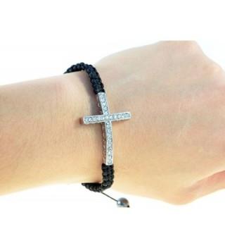 Handmade Sideways Cross Black String Macrame Bracelet - 91174 - CN11DGNHIMN