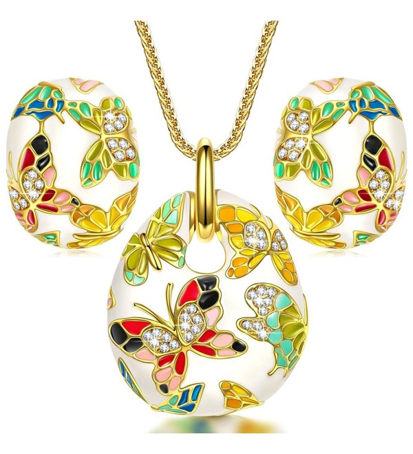 "QIANSE ""Spring of Versailles"" Handcrafted Enamel Butterfly Jewelry Set - CL11WIUVGYL"