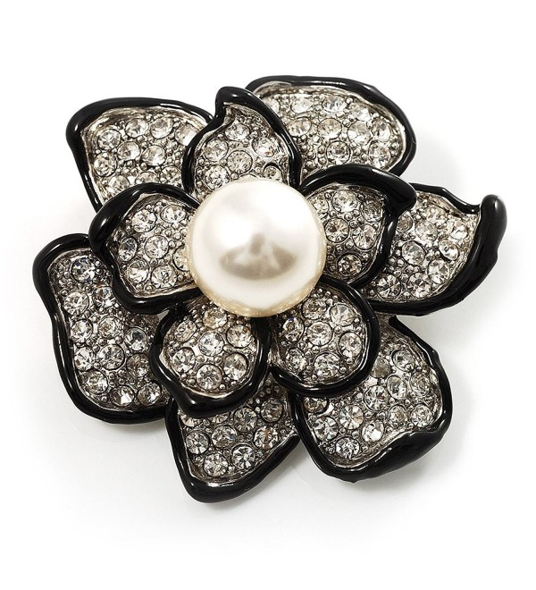 Bridal Synthetic Pearl Crystal Flower Brooch (Black & Silver) - CA113RDD2QX