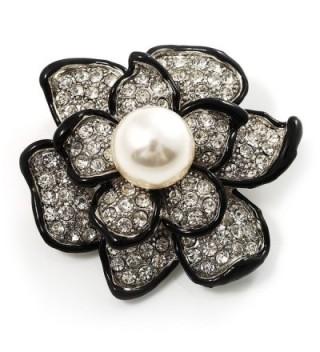 Bridal Synthetic Pearl Crystal Flower Brooch (Black & Silver) - CA113RDD2QX