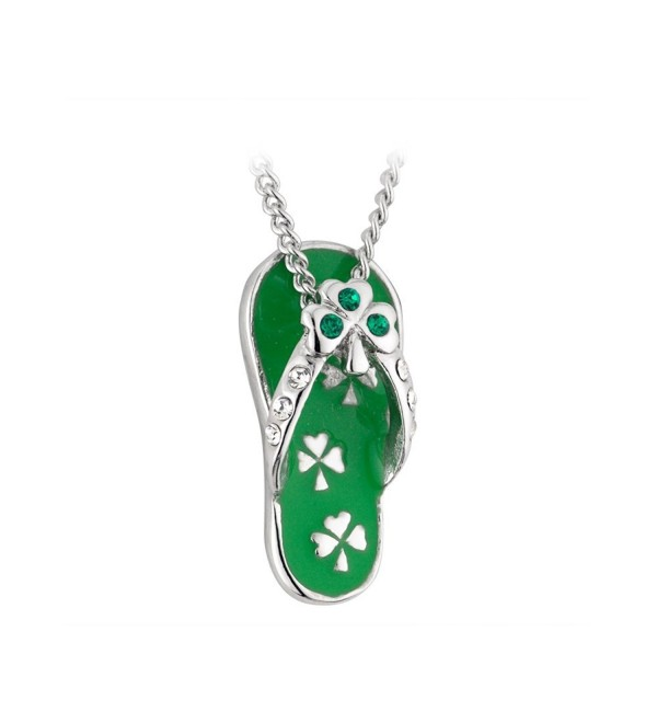 Shamrock Flip Flop Necklace Rhodium Plating- Enamel & Crystal - CY114U17DRZ