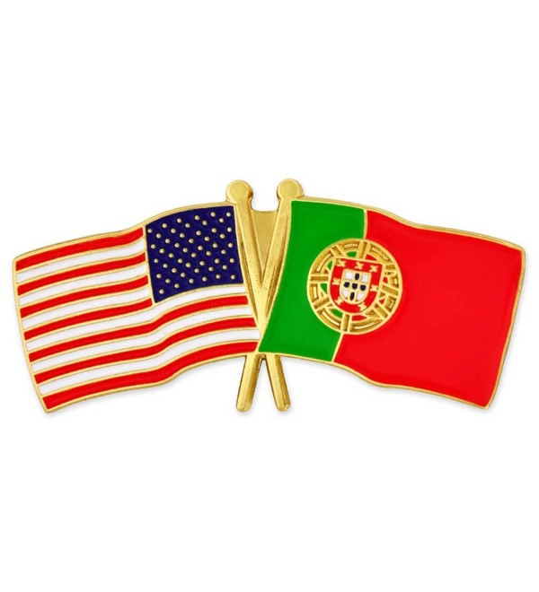PinMart's USA and Portugal Crossed Friendship Flag Enamel Lapel Pin - CJ119PENA0F