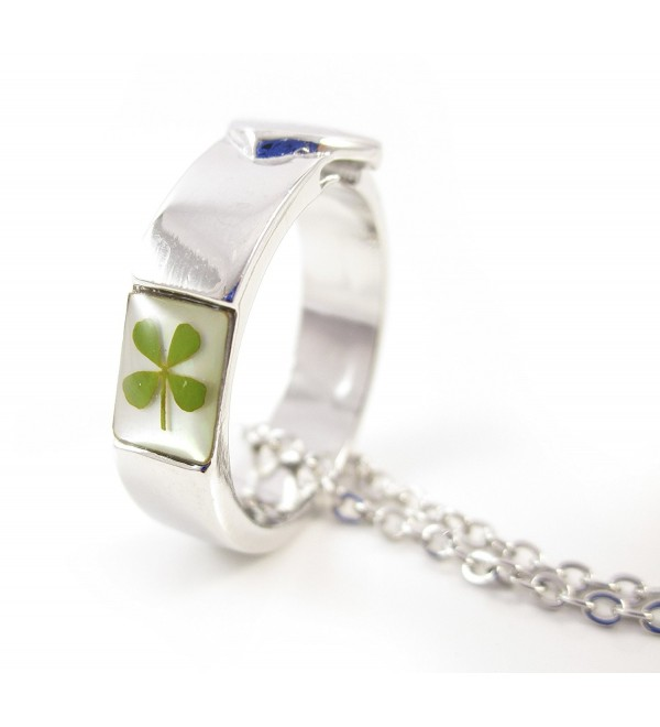 The Lucky Ring Necklace Size 7! Genuine Four-leaf Lucky Clover Shamrock Crystal Amber Pendant Necklace - C512DW4H4E7