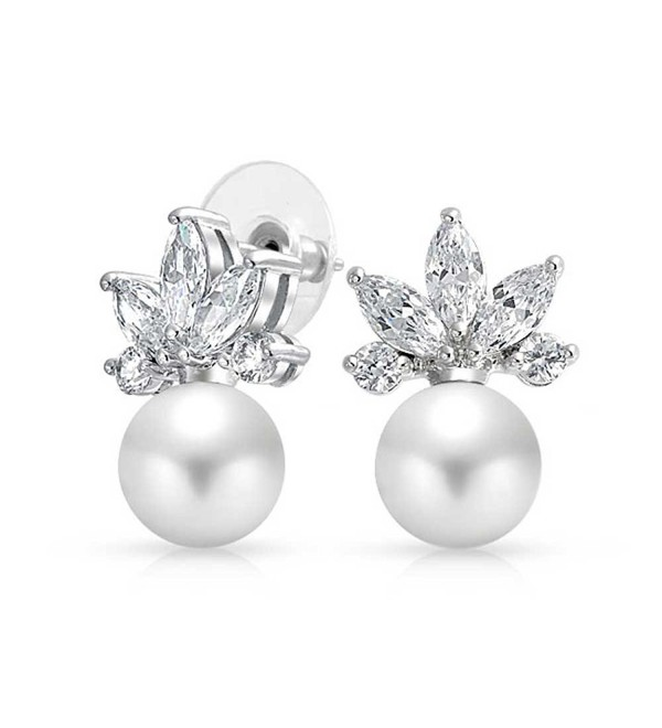 Bling Jewelry Simulated Pearl Bridal CZ Stud earrings 925 Sterling Silver 18mm - CZ11FXPBTTF