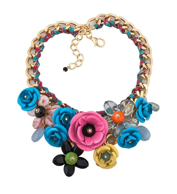LovelyCharms Flower Floral Statement Necklace Chunky Pendant - CN17AYSOQRS