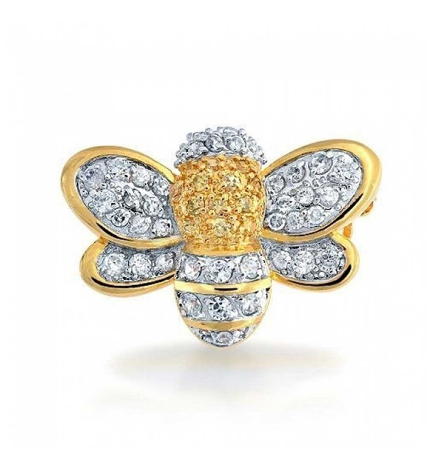 Bling Jewelry Gold Plated Cubic Zirconia Bumble Bee Brooch Pin - CG116EUMWPD