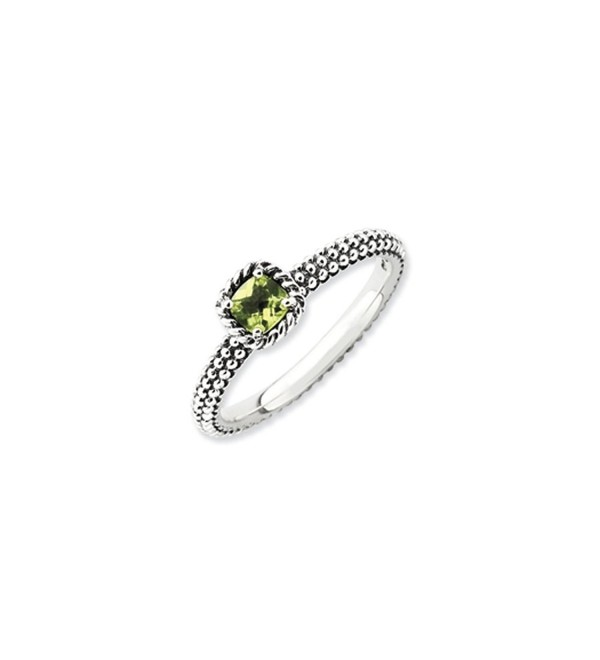 Antiqued Sterling Silver Stackable Peridot Ring - C2118CS72MD