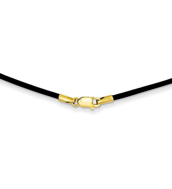 14K Gold 1.6mm 16in Black Leather Cord Necklace 16 Inches - CO11DJXFO1H