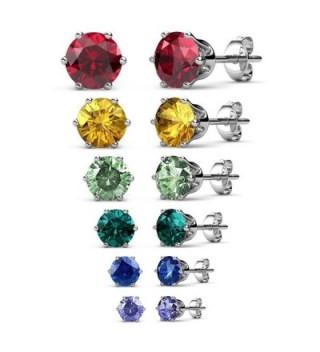 R-timer Jewelry Womens Stud Earrings Swarovski Elements Crystal Birthstone Earrings - 6 Pairs Set - C412NGYCORT