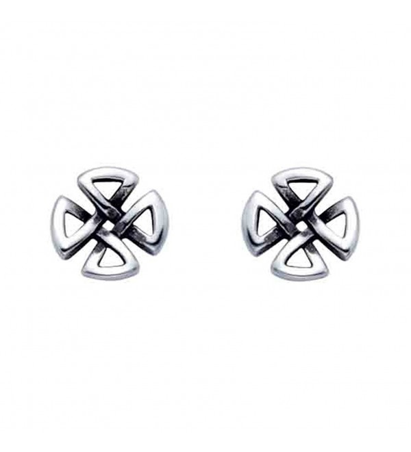 Small Stainless Steel Celtic Cross Stud Earrings - CR119E42DZZ