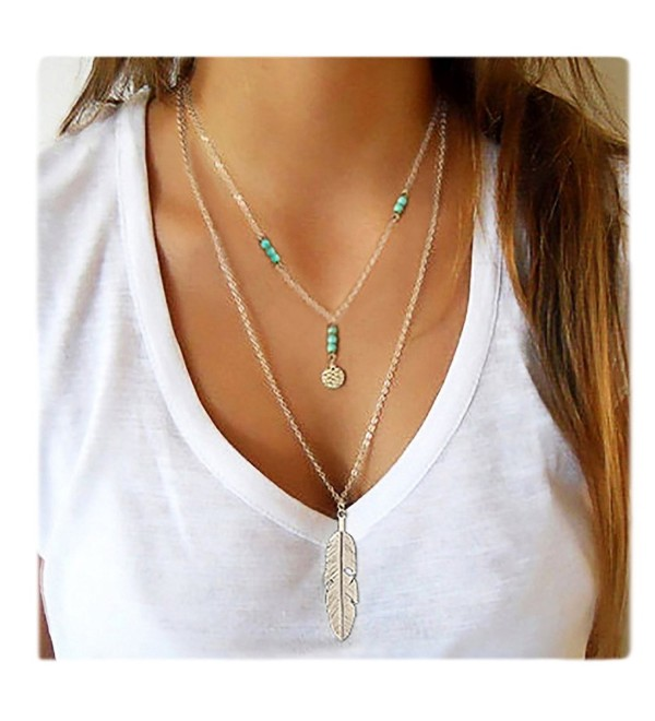 Wowanoo Simple Layered Bar Pendant Necklace Boho Feather Chain Necklace for Women Jewelry - Feather Silver - CR1895X3LLQ