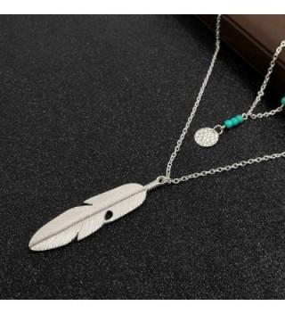 Wowanoo Layered Pendant Necklace Feather
