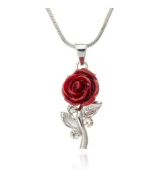 "PammyJ Small Single Red Rose with Clear Crystal Silvertone Pendant Necklace- 18"" - C7115ONTX8Z"